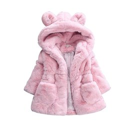 China Children's Clothing Autumn And Winter New Style Girls Plush Faux Fur Cotton Padded Rabbit Ears Outerwear Thick Padded Coat cheap rabbit fur clothes suppliers