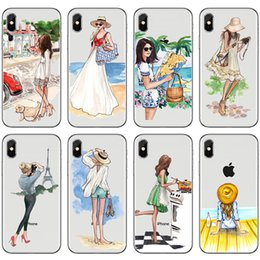 Wholesale For Iphone Xr Xs Max X Plus Hot Fashion Shopping Hand Drawn Girl Phone Case Tpu Soft Cell Phone Case