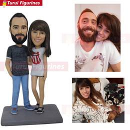 $enCountryForm.capitalKeyWord Australia - OOAK custom bobblehead figurines dolls for wedding couple cake tpper personalized bobble head lovers mini dolls statue sculpture