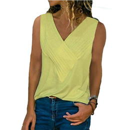 camisole t shirts UK - Women V-Neck Tank Tops Camisole Sexy Sleeveless Summer Tops Casual Solid Color Slim T Shirt Tee Shirt Femme Plus Size 5XL Tshirt