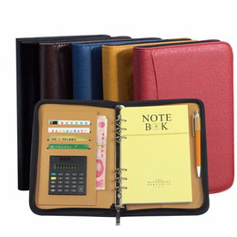 Notepad Leather A5 Australia - A5 A6 B5 Faux Leather Notebook Spiral Personal Dairy Planner Organizer Notepad Travel Agenda Manager Padfolio Folder Calculator