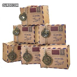 wedding crystal souvenirs favors UK - 100pcs Vintage Favors Kraft Paper Candy Box Travel Theme Airplane Air Mail Gift Packaging Boxes Wedding Souvenirs scatole regalo CJ191203