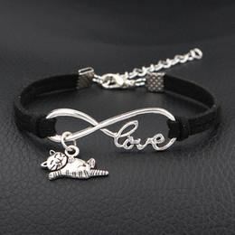 Discount multiple silver bracelets - Hot Vintage Multiple Layers Black Leather Rope Bracelets For Women Men Infinity Love Cat Sign Pendant Charms Bangles Fem