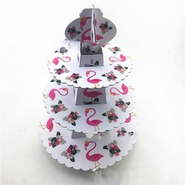 $enCountryForm.capitalKeyWord Australia - 1pcs set Flamingo Baby Shower Birthday Party Decorations Supplies Cardboard Cupcake Stand 24 Cupcakes 3 Tier