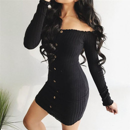 One shOulder evening dress print online shopping - Trendy Women dress Long Sleeve solid Button Off Shoulder Evening casual Party cotton Bodycon Mini Dresses one pieces