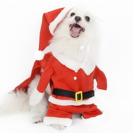 santa coat costume UK - Christmas pet Clothes Dog Cat Santa Claus Costume Winter Warm Suit Hooded Coat Pet Supply Cotton Clothes for Cat dogs HOT