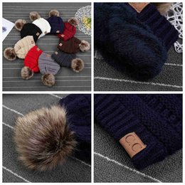 kids fedoras beanies Australia - Kids CC Trendy Hats with Liner Fur Poms Beanie Winter Label Fedora Luxury Cable Slouchy Skull Caps Fashion Leisure Outdoor Hats 1pcs E FM206