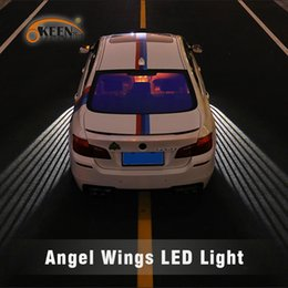 door projector lights for cars UK - OKEEN Angel Wings led Car door light Courtesy Angel Projector welcome Light For Car Motorcycle 12V  24V red  white  blue  green