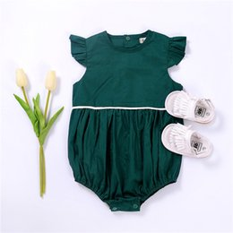 $enCountryForm.capitalKeyWord Australia - Toddler Infant Baby Boy Girls Romper Butterfly Sleeve Green Jumpsuit Baby Girl Romper Solid Casual Outfits Sunsuit