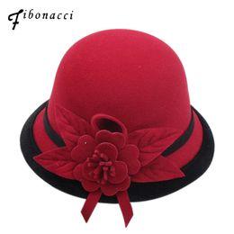 bb846f2bfb6b3 Fibonacci 2018 New Autumn Winter Female Fedoras Lmitation Wool Felt Women  Hats Fashion Bucket Floral Fedora Hat