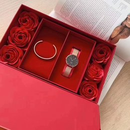 lace ruby NZ - DW watch DW bracelet set precious things are very rare, so there is only one you in the world, Valentine's Day gift, DW watch with rose red