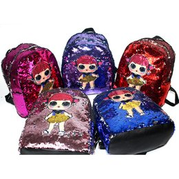 Wholesale 5styles Doll Mermaid Sequin Bag Little Girl Printing Backpack zipper Shoulder Strap Shopping Student kids Satchel school bag FFA2370