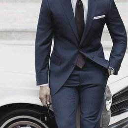 Suit For Mariage Australia - Wedding Suits For Men 2019 Custom Made Mens Suits With Pants Dark Blue Grey Tailored Suit Costume Homme Mariage Luxe Terno Slim YM