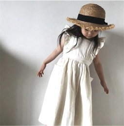 organic girls dresses Australia - Summer Autumn Newest INS Little Girls Organic Linen Cotton Dresses Ruffles Fly Sleeve Square Collar Blank Big Pockets Children Girls Dress