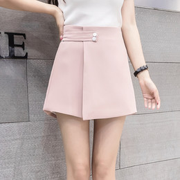 White Shorts Australia - 2019 New Women Shorts Skirts Spring Fashion High Waist Shorts Female Casual Loose Culottes Woman Black Pink White Summer Shorts T5190617