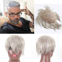 Back Hair Men Australia - all back style white hair wig ,100% human hair made and handmade human hair white color ,Custom monofilament toupee for men and women
