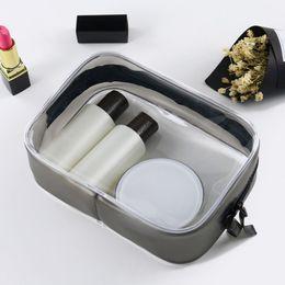 Wholesale Pvc Zipper Bag Australia - Transparent PVC Women Travel Cosmetic Bags Clear Zipper Men Makeup Bags Organizer Beauty Toiletry Bag Bath Wash Make Up Case