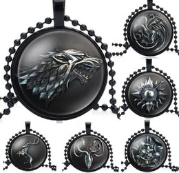 $enCountryForm.capitalKeyWord Australia - Black Game of Thrones Necklace House Strek Lannister Targaryen Dragn Wolf Lion Sign Pendant Glass Cabochon Necklace fashion Jewelry HYS413