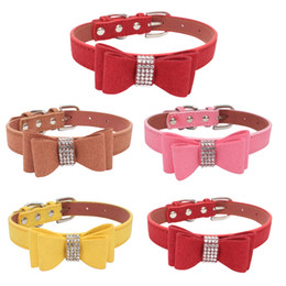 b0078838 Large Bow Ties Wholesale UK - Soft Velvet Suede Bowknot Rhinestone Collar  Bow Tie Crystal Diamonds