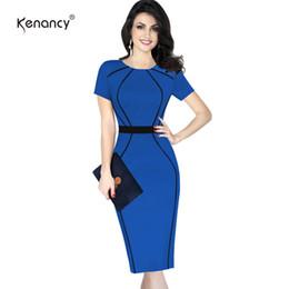 $enCountryForm.capitalKeyWord Australia - Kenancy 4xl Women Elegant Color Block Contrast Patchwork Cloak Women Short Wear To Work Office Bodycon Pencil Dress Y19071001