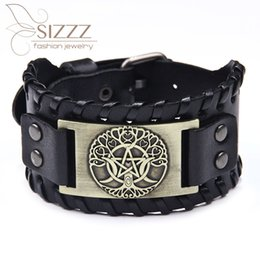 $enCountryForm.capitalKeyWord Australia - SIZZZ 2019 New five-pointed star leather fashion trend moon tree tide male bracelet&bangles for men
