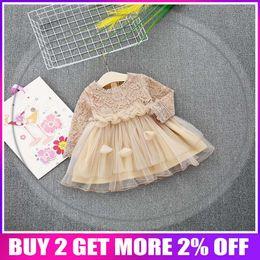 $enCountryForm.capitalKeyWord UK - 2018 Spring Long Sleeve Mesh Patchwork Lace Baby Wedding Party Girls Kids Princess Fairy Infants Ball Gown Dress Vestidos S6351 Y19061101