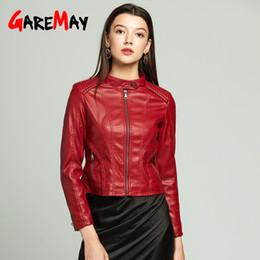 Discount womens faux pu leather jacket - Garemay Womens Black Leather Jacket Red Faux Pu Long Sleeve Autumn Winter Plus Sizes Leather Jacket Women