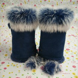 rabbit hair gloves Australia - Female Rabbit Hair Wrist Gloves Fingerless Computer Typing Mittens Winter Women Suede Leather Warm Thick Cashmere Gloves