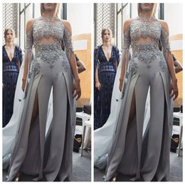 0c3a1c71ca4f 2019 Sheer Lace Appliques Prom Suit Beading Sequined Front Split Sexy Women  Jumpsuit Celebrity Gown Long Sleeve Evening Pageant Party Gowns