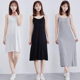 $enCountryForm.capitalKeyWord Australia - Women's Modal Full Slip Dress Spaghetti strap Vest Skirt 90 to 120cm Long Under dress Camisoles slips Inner Petticoat