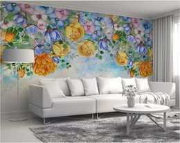 small wood house UK - 3d room wallpaper custom photo mural Watercolor flower small fresh minimalist Nordic TV home decor wall art pictures wallpaper for walls 3 d