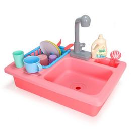 $enCountryForm.capitalKeyWord Australia - Kids Simulation Kitchen Sink Set Play Water Faucet Dishwasher Pretend Play Interactive Toys For Children Boys Girls Gifts