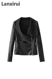 leather zippers Australia - Womens Slim Biker Motorcycle Pu Soft Leather Zipper Jacket Coat plus size 5XL