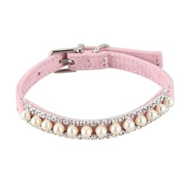 pet dog princess collar Canada - store Rhinestone Pearl Chain Dog Collar Princess Collars For Dogs Cats Pet Leads Accessories(pink)M