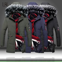 hooded parka overcoat long NZ - Men's Winter Thick Coats Warm Jackets Men Padded Casual Hooded Thermal Parka Men Long Hoodies Overcoats Male Brand Clothing 3XL