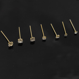 nose rings packs NZ - 100% 925 Sterling silver nose Stud clear crystal gold piercing nose jewelry 36pcs pack
