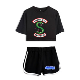 $enCountryForm.capitalKeyWord UK - BTS Riverdale Tracksuit Two Piece Set 2018 Summer Cotton Printed T shirt Breathable Kpop Album Woman Shorts Crop Tops+Shorts Pan