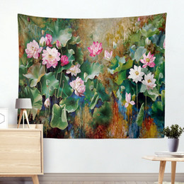 European Style Room Oil Paint Australia - Living room bedroom decoration European-style high-definition oil painting lotus tapestry wall hanging beach towel carpet Yoga blanket