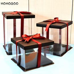 $enCountryForm.capitalKeyWord Australia - HOHOGOO 1PC Transparent Gift Box PVC Bear Rose Flower Gifts Box Wedding Valentine's Day Birthday Cake Packing White Black