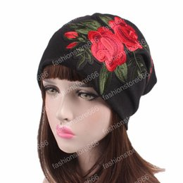vintage beanies hats Australia - 2019 New Fashion vintage rose flower embroidery Slouch Beanie jersey skull baggy hat for women