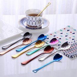 $enCountryForm.capitalKeyWord Australia - Colorful ice cream spoon love heart shaped spoon coffee tea stir spoons for party wedding supplies kitchen accessories