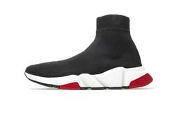 Designer Sneakers Speed Trainer Schwarz Rot Gypsophila Triple Schwarz Mode Flache Socken Stiefel Freizeitschuhe Speed Trainer Runner Mit Staubbeutel im Angebot