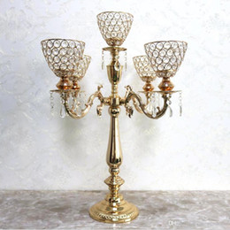Activity Blocks Australia - 5-arms Candle Holders Metal Candelabras Gold Finish Candlesticks With Crystal Pendants Candle Holder Wedding Party Event Decor