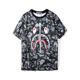 China Bape Designer Mens T Shirt Mens Women High Quality Short Sleeves Zipper Decoration Shark Printing Tees Size M-2XL cheap shark prints suppliers