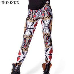 Slim Shape Leggings Australia - wholesale Playing Cards Digital Printed Women Leggings Personality Gothic Interest Fitness Shape Slim Casual Elastic Pants