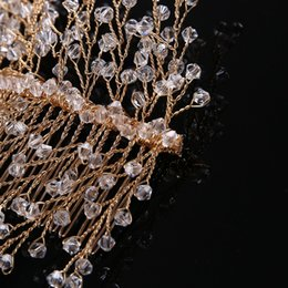 Wire Crystal Tree Australia - 2019 new hot style fashion personality simple generous European and American luxury hair ornaments gold plated copper wire crystal tree shap