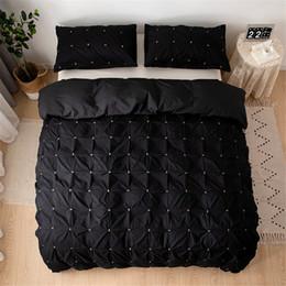Discount royal blue bedding - Plain Color Square Duvet Cover Set Queen Size Bed Linen Euro Set Royal Palace Twin Size Bedding Bed Covers luxury Black