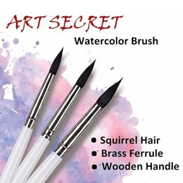 wholesale wooden handle paint brush Canada - 25rq High Quality Squirrel Hair Wooden Handle Brass Ferrule Paint Brushes Artistic Art Painting Watercolor Brush For Drawing C19041701