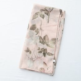 Scarf Shawl Linen Cotton Australia - New Thin Scarf Scarves Pink Printed Cotton and Linen Japanese Small Fresh Travel Sunscreen Shawl Scarves Beach Towel