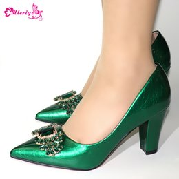 $enCountryForm.capitalKeyWord Australia - Green Color Wedding Shoes Woman Open Toe Ladies Pumps Shoes Party Wedding Shoes Decorated with Rhinestone New Arrival Italy Shoe